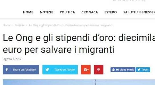 La bufala dei super stipendi da 10 mila euro al mese nelle Ong che salvano i migranti