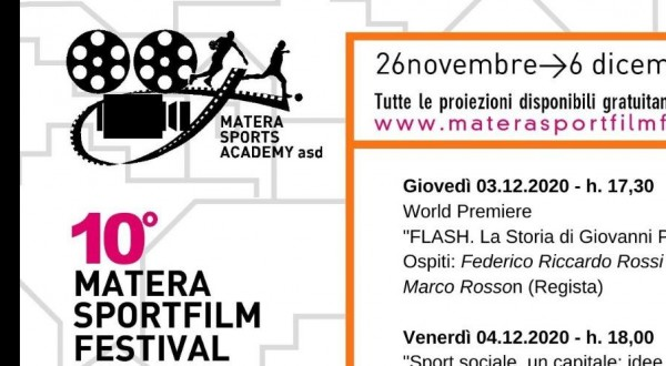 MATERA SPORT FILM FESTIVAL 2020: Gli appuntamenti