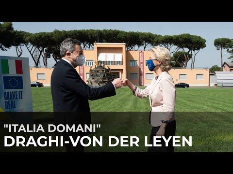 #ItaliaDomani, il Presidente Draghi accoglie la Presidente della Commissione Ue von der Leyen