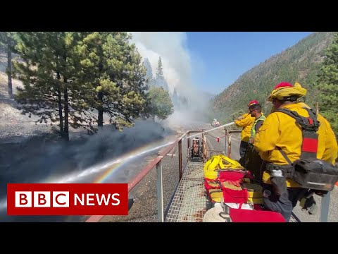 Firefighters battle blaze from top of moving train – BBC News