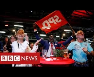 German election exit polls place Social Democrats narrowly ahead - BBC News