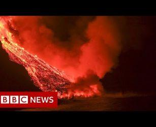 Lava continues to pour from La Palma volcano - BBC News